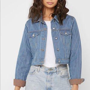 Jackets & Blazers - Denim Striped Blue White Button Up Jean Jacket